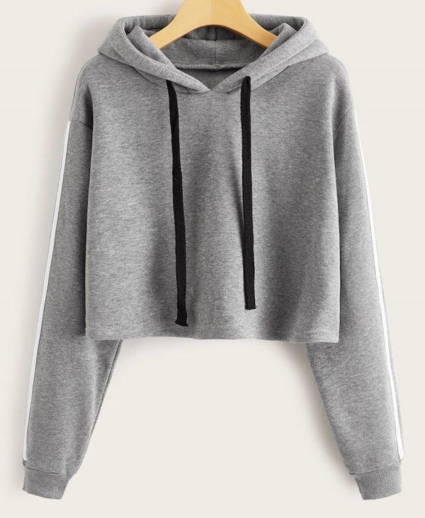 Gray crop top hoodie