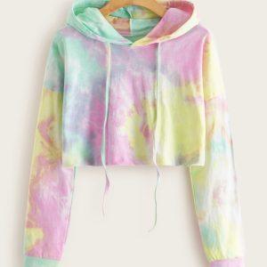 Cotton Candy Tye Dye Crop Hoodie