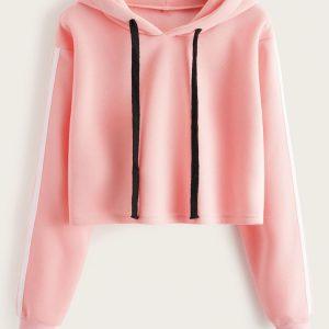 Sirene LaVie Sport Crop Top Hoodie Pink