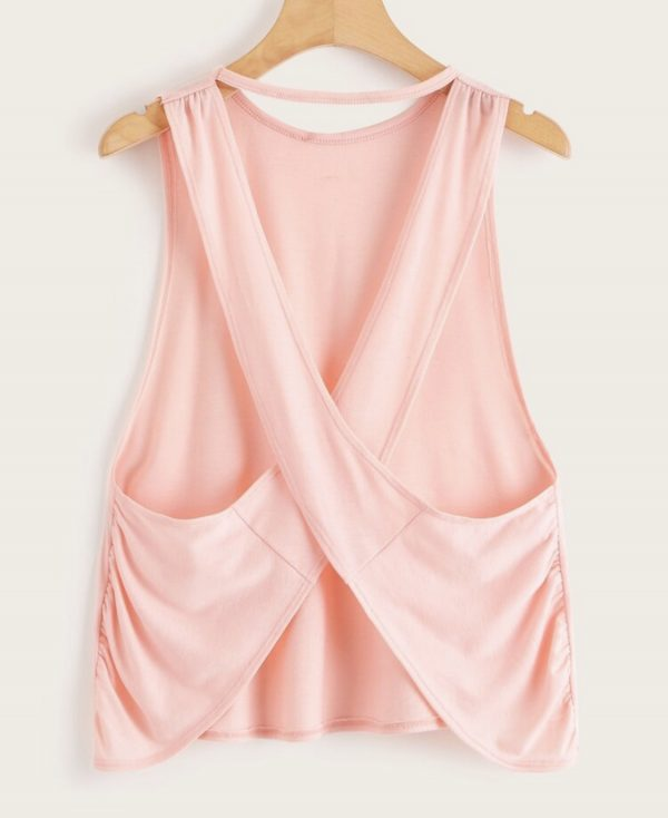Criss Cross Tank Top in PINK